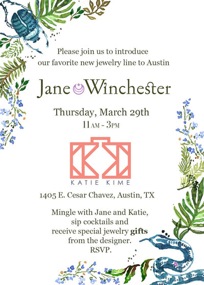 come and mingle with Jane Winchester Jewelry + Katie Kime.
