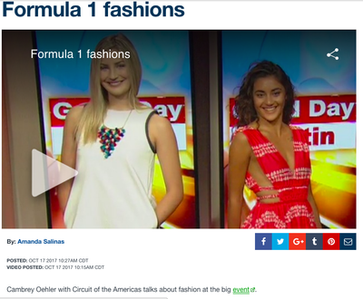 Fox 7 | Formula 1 Fashions | October 2017