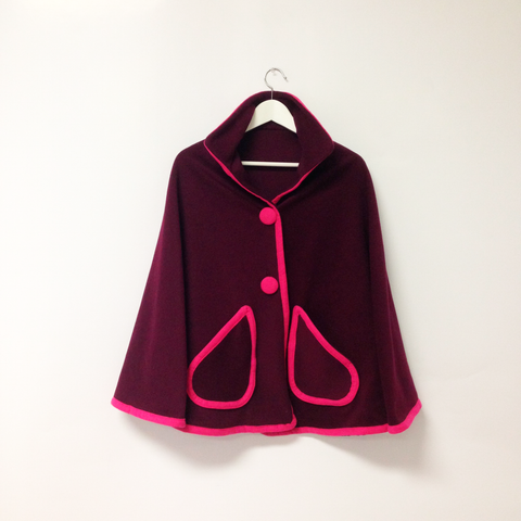 Maroon Wool Cape with Magenta Trim