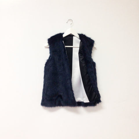 Navy Fur Vest with Black and White Satin Liner