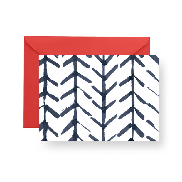Folded Notecard Navy Arrows Folded Notecard Set