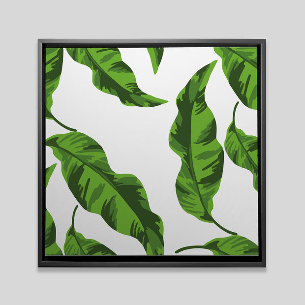 Canvas 20x20 / Black Banana Leaves Canvas