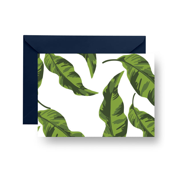 Folded Notecard Green Banana Leaves Folded Notecard Set