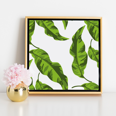 Canvas 20x20 / Gold Float Frame Banana Leaves Canvas