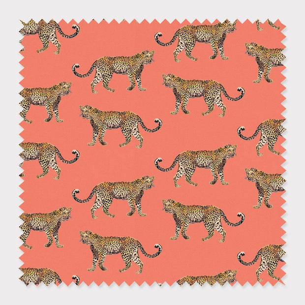Fabric Cotton / Coral Cheetahs Fabric