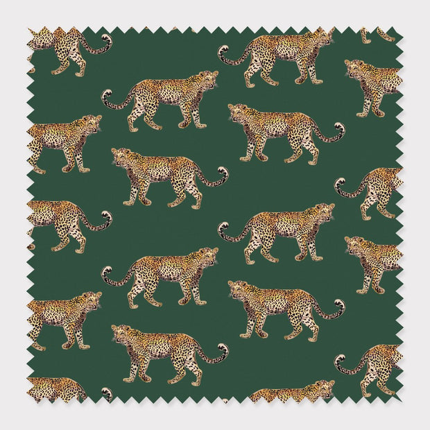 Fabric Cotton / Hunter Green Cheetahs Fabric