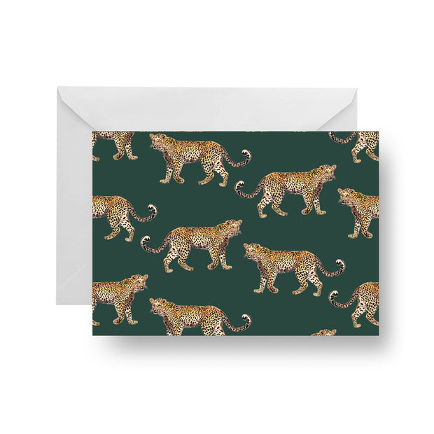 Folded Notecard Green Cheetahs Folded Notecard