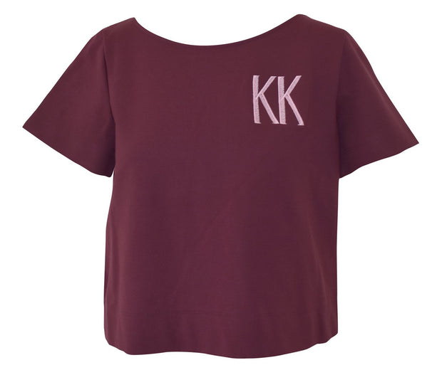 Clothing X-Small / Burgundy Ponte Short Sleeve Top