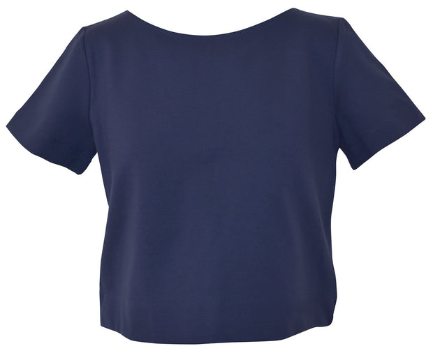 Clothing X-Small / Navy Ponte Short Sleeve Top