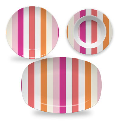 Melamine Cottage Stripes Dinnerware