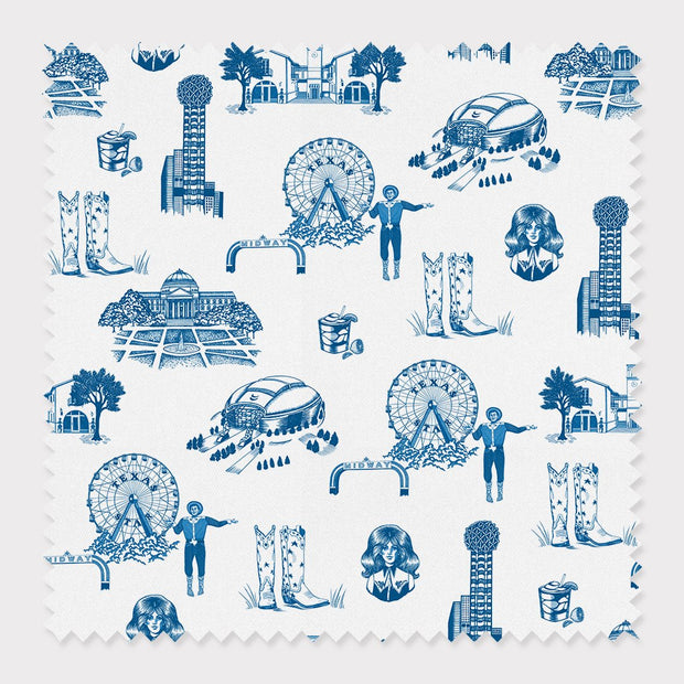 Fabric Cotton / By The Yard / Blue Dallas Toile Fabric