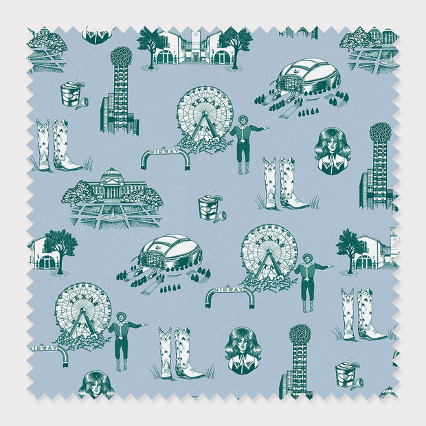 Fabric Cotton / By The Yard / Blue Pine Dallas Toile Fabric