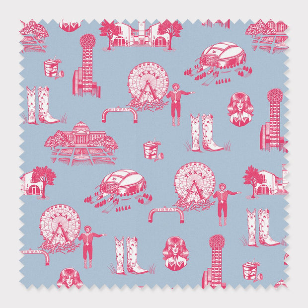 Fabric Cotton / By The Yard / Blue Pink Dallas Toile Fabric