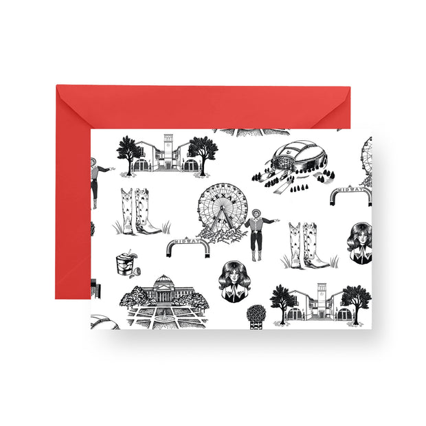 Folded Notecard Black Dallas Toile Folded Notecard Set