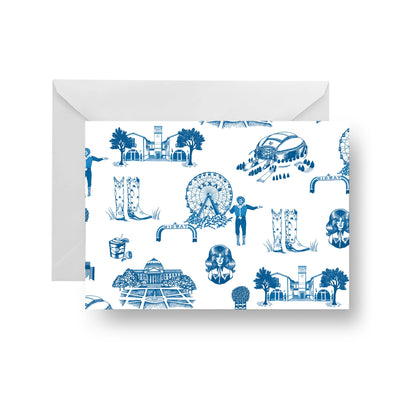 Folded Notecard Blue Dallas Toile Folded Notecard Set