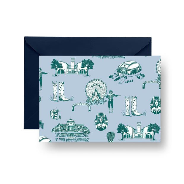 Folded Notecard Blue Pine Dallas Toile Folded Notecard Set