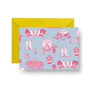 Folded Notecard Blue Pink Dallas Toile Folded Notecard Set