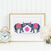 Gallery Prints 12x16 Elephants March Monogrammed Print