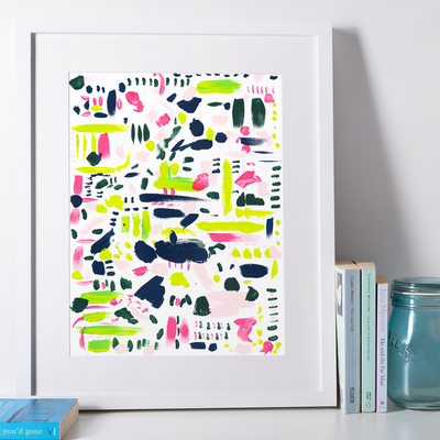 Gallery Prints 5x7 Pink & Blue Splatters Print