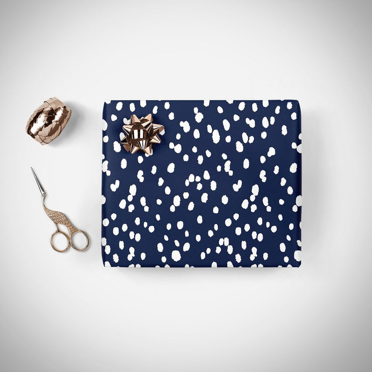 Gift Wrap Navy Seeing Spots Satin Gift Wrap