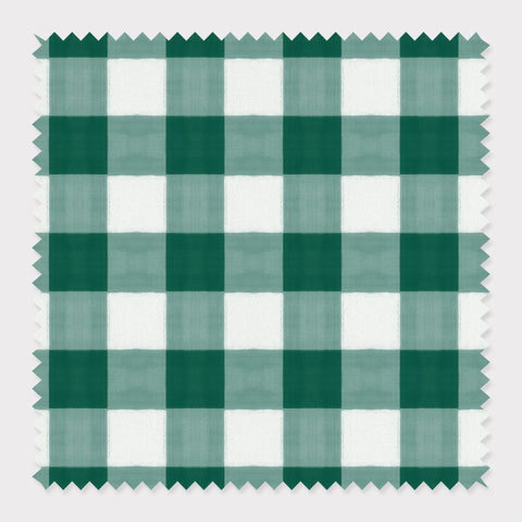 Fabric Cotton / Green Gingham Fabric