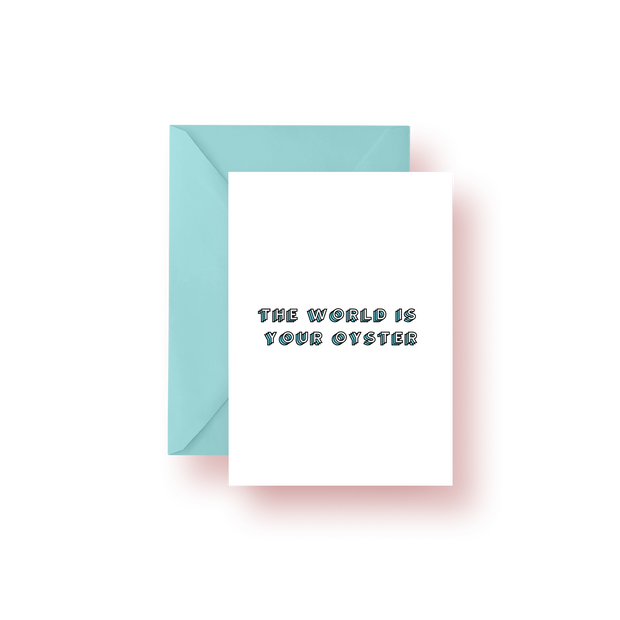 Greeting Card Blue The World is Your Oyster Colorblock Greeting Card