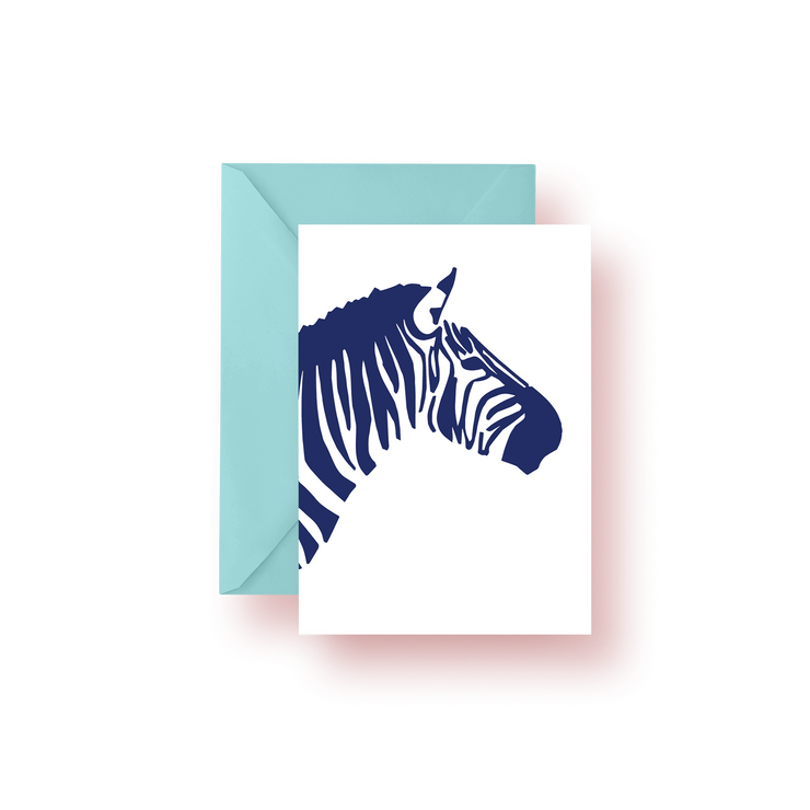 Greeting Card Navy Zebra Greeting Card