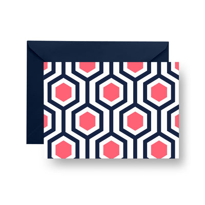 Folded Notecard Navy Magenta Honeycomb Folded Notecard Set