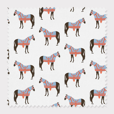 Fabric Cotton / Blue Horse & Tassel Fabric