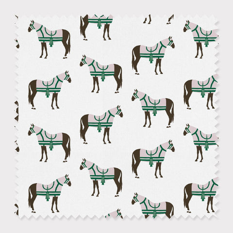 Fabric Cotton / Green Horse & Tassel Fabric