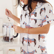 Leisure Horse & Tassel Sleeve Pajama Set