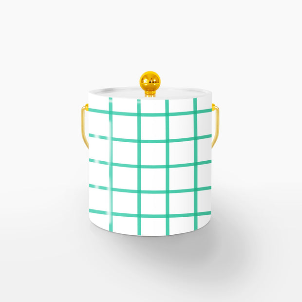 Ice Bucket Gold / Green In Check 3QT Ice Bucket