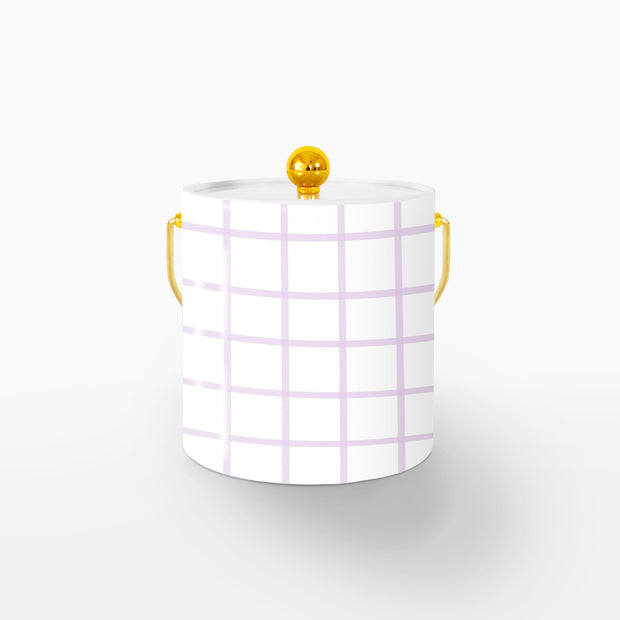 Ice Bucket Gold / Lilac In Check 3QT Ice Bucket