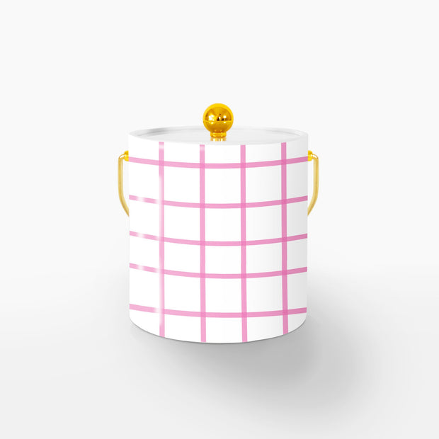 Ice Bucket Gold / Pink In Check 3QT Ice Bucket