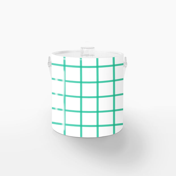 Ice Bucket Lucite / Green In Check 3QT Ice Bucket