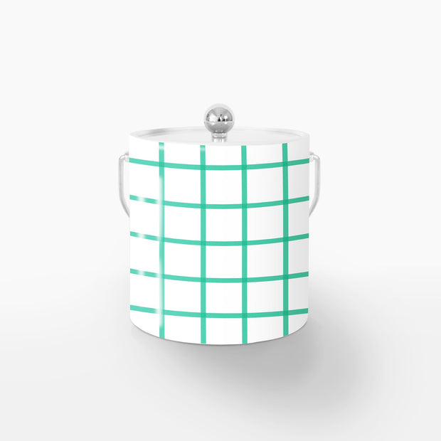 Ice Bucket Silver / Green In Check 3QT Ice Bucket
