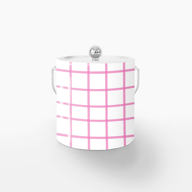 Ice Bucket Silver / Pink In Check 3QT Ice Bucket