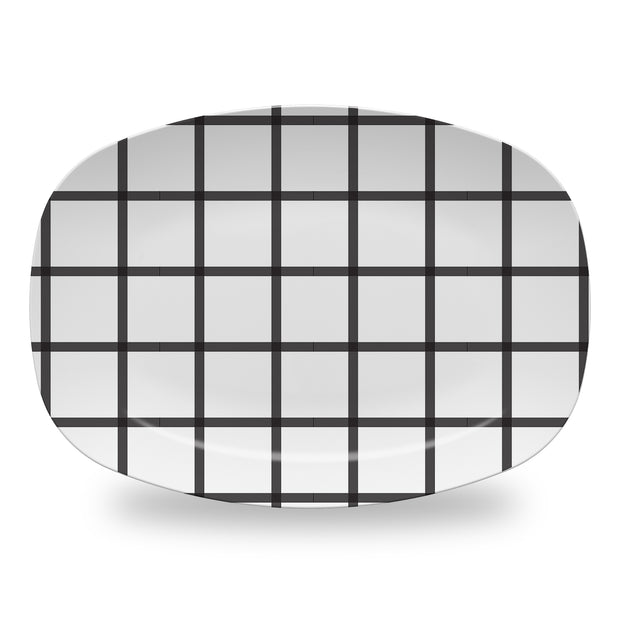 Melamine Black / Platter In Check Dinnerware