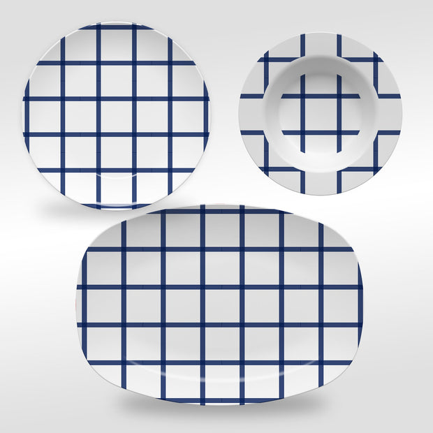 Melamine In Check Dinnerware
