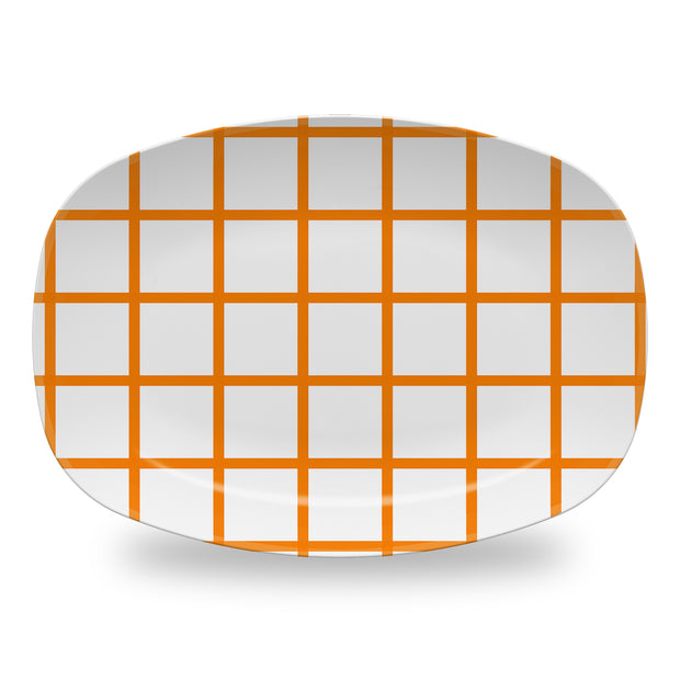 Melamine Orange / Platter In Check Dinnerware
