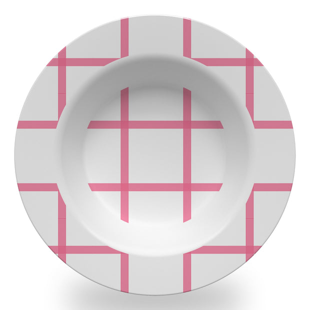 Melamine Pink / Bowl In Check Dinnerware