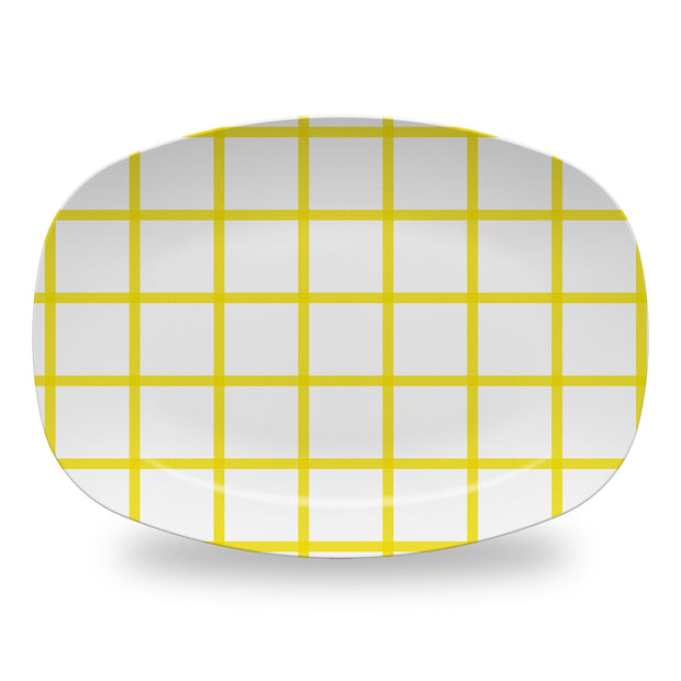 Melamine Yellow / Platter In Check Dinnerware