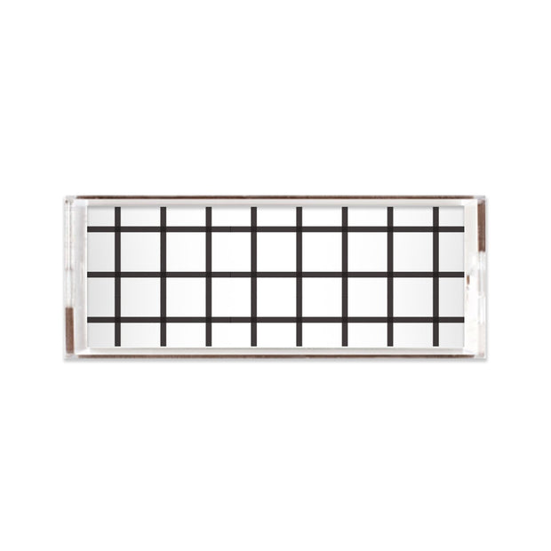 Lucite Trays Black / 11x4 In Check Lucite Tray