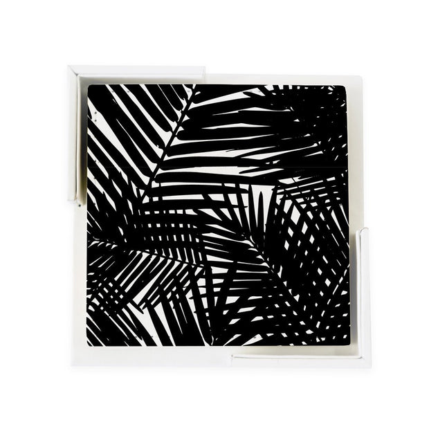Coaster Set Black Jungle Leaves Coaster Set