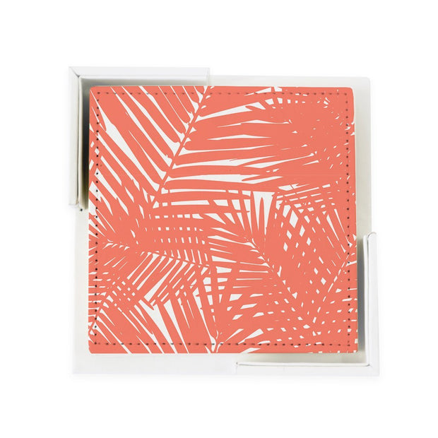 Coaster Set Coral Jungle Leaves Coaster Set
