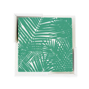 Coaster Set Teal Jungle Leaves Coaster Set
