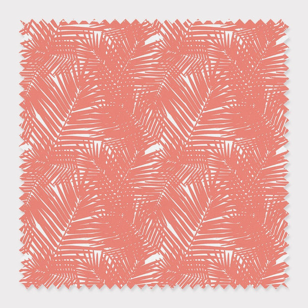 Fabric Cotton / Coral Jungle Leaves Fabric