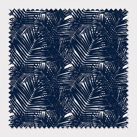 Fabric Cotton / Navy Jungle Leaves Fabric