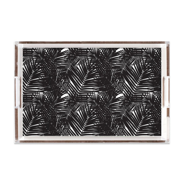 Lucite Trays 11x17 / Black Jungle Leaves Lucite Tray