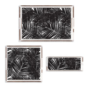 Lucite Trays 11x4 / Black Jungle Leaves Lucite Tray